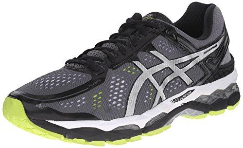ASICS Men's Gel Kayano 22 Running Shoe, Charcoal/Silver/Lime, 14 4E US