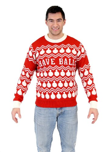 Ugly Christmas I Have Balls Ornament Pattern Red Sweater (Adult Large)