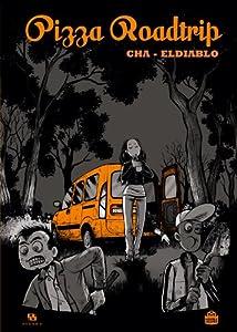 trois personnages dans les bois devant une camionnette orange