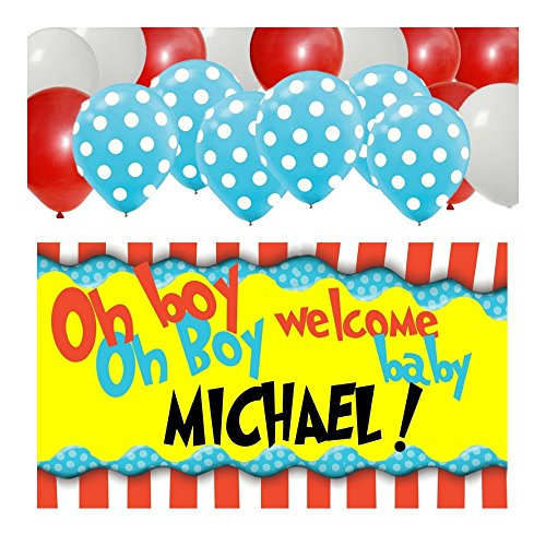Dr Seuss Personalized Baby Shower Banner & 30 Balloon Kit Party Supplies