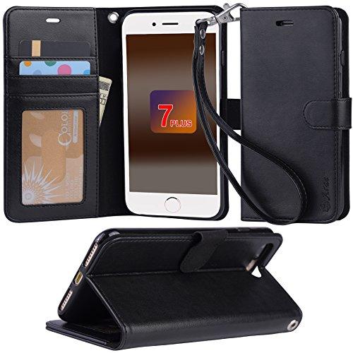 iphone 7 Plus ケース 手帳型 RoHS規格認定書を取得した iphone 7 Plus case スタンド機能付き マグネット内蔵 ストラップ付き アイホン7プラス カーバ 財布型 カードポケット付き (iphone 7 Plus ブラック)