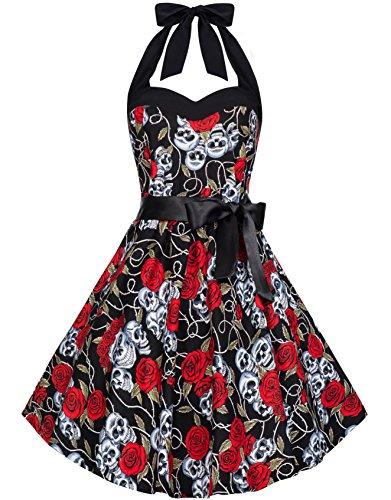 Zarlena Damen Rockabilly Kleid Halloween Helloween Gothic 50er Skull Skulls Roses Totenköpfe Totenkopf Rosen Tanzkleid 34 36 38 40 42 44 46
