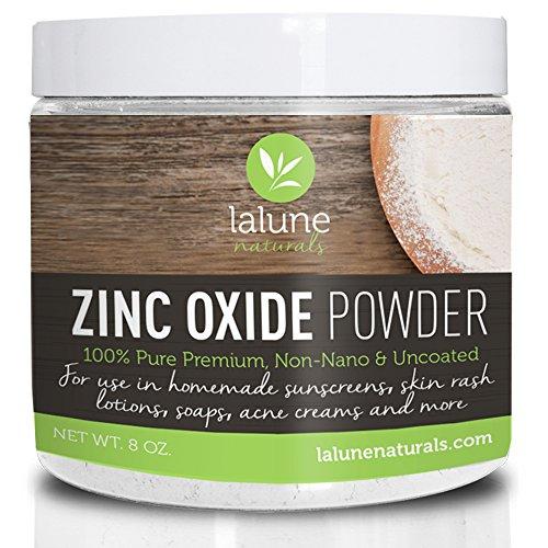 Zinc Oxide Powder – Non-Nano Uncoated, 100% Pure Cosmetic Grade – 10 FREE Recipes and Scoop – La Lune Naturals Zinc Oxide for Face, Nose, Lips, Sunblock, Acne, Eczema, Homemade Safe Sunscreen for Kids