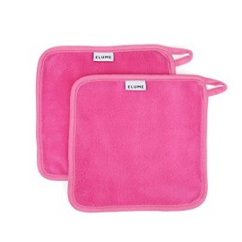 ELUME-Makeup-Remover-Cloths-with-Loop-to-Hang-Dry-Designed-for-Sensitive-Skin-to-Gently-Wipe-Away-Cosmetics-Facial-Masks-Sunscreen-Dirt-and-Oil-Set-of-2-Reusable-Travel-Size-Pink-Make-Up-Towels