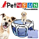 "PET4FUN® PN945 MEDIUM 43""PORTABLE PET PUPPY DOGGIE CAT PLAYPEN KENNEL - 600D OXFORD CLOTH, TOOL-FREE SETUP, CARRYING BAG INCLUDED, REMOVABLE MESH COVER FOR SHADE/SECURITY, 2 POCKETS FOR STORAGE - BLUE"
