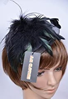 AM CLOTHES Womens Elegant Feather with Netting Mesh Fascinator (Black)