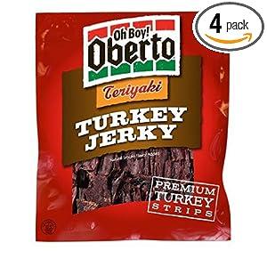 Oh Boy! Oberto Teriyaki Turkey Jerky, 3.25-Ounce Bags (Pack of 4)