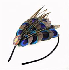 Natural Peacock Feather Fascinator Wedding Hair Clip (blue with sparking rhinestone)