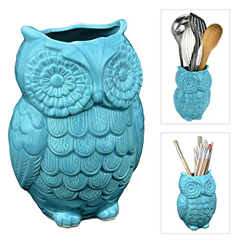 Owl Design Aqua Blue Ceramic Kitchen Cooking Utensil Crock / Office Pencil Holder Pen Container - MyGift®