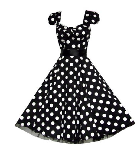 Pretty Kitty Fashion 50s Groß Schwarz Weiß Polka Dot Cocktail Tee Kleid