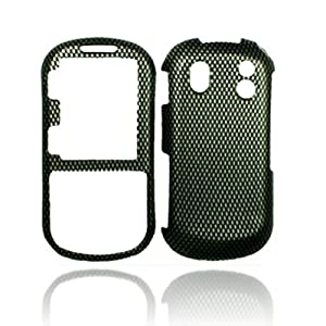 Rubberized Black Carbon Fiber Snap on Design Case Hard Case Skin Cover Faceplate for Samsung Intensity 2 U460