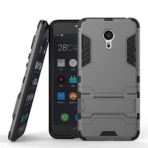 Febelo Branded Hybrid Armor Robot Design Shockprooof KickStand hard back Case Cover For Meizu M3 Note - Grey Color