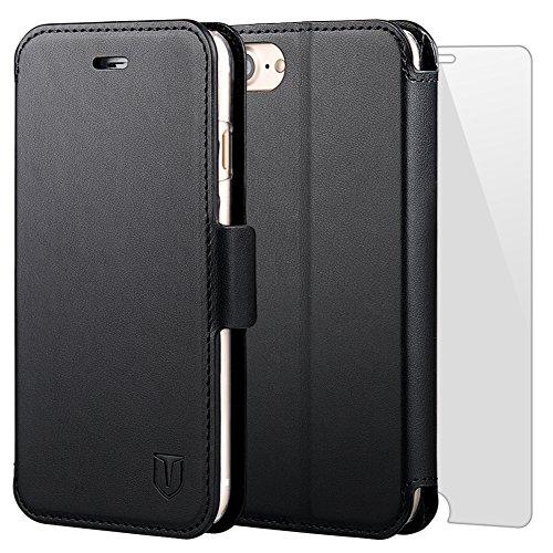 iPhone7 ケース 手帳型ケース TANNC 「強化ガラスフィルム付き」 透明内装ケース 財布型ケース レザーケース マグネット式 カード収納 ポケットホルダー付き スタンド機能付き ブラック