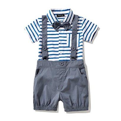 Baby-Boys-Bowtie-Gentleman-Romper-Jumpsuit-Overalls-Stripe-Rompers-Sets