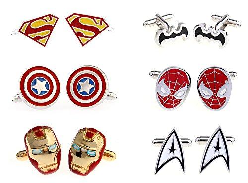 6 Pairs of Superhero Cufflinks with Velvet Pocket for Men ...