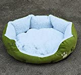 Unique Soft Warm Indoor Pet Puppy Sofa House Bed Sherpa Cotton Fossa Dog Cat Pet Bed Pink Orange Brown Blue Yellow (green, 46 x 42cm)