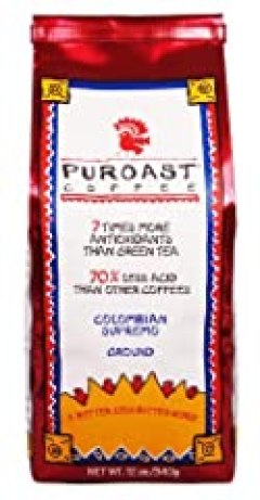 Puroast Low Acid Coffee Colombian Supremo Blend Drip Grind, 12-Ounces Bags (Pack of 2)