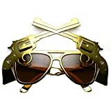zeroUV - Gun Pistol Magnum Wild West Cowboy Costume Aviator Sunglasses (Brass Brown)