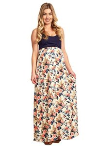 PinkBlush-Maternity-Colorblock-Floral-Bottom-Maxi-Dress