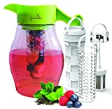 Fruit and Tea Infuser Pitcher - Free Infusion Recipe Ebook - Gourmet2day Triple Infusion Pitcher Includes 3 Interchangeable Infusers for Fruit, Tea and Ice to enhance the flavor of beverages