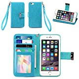 IZENGATE Apple iPhone 6 (4.7 inch) Wallet Case - Executive Premium PU Leather Flip Cover Folio with Stand (Turquoise Blue)