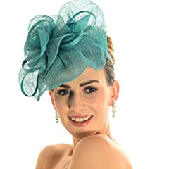 Sinamay Fascinator Cocktail Hat with Headband (Turquoise)