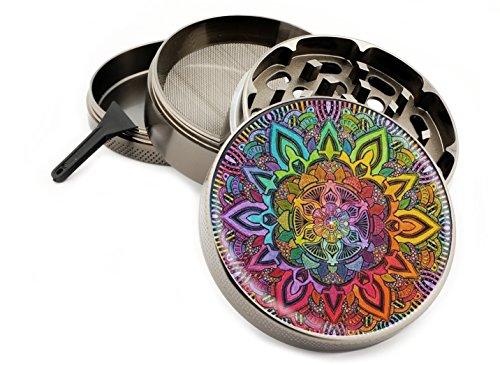 Rainbow Mandala 4 Piece Large Silver Aluminum or Zinc Metal Herb Grinder