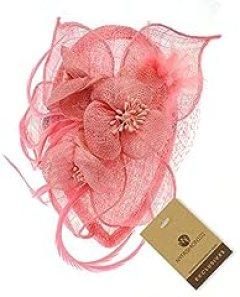NYfashion101(TM) Cocktail Fashion Sinamay Fascinator Hat Flower Design & Net F09085-Light Pink