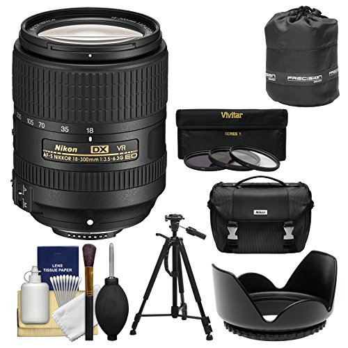 Nikon 18-300mm f/3.5-6.3G VR DX ED AF-S Nikkor-Zoom Lens with Case + Tripod + 3 UV/CPL/ND8 Filters + Hood + Kit for DSLR Cameras
