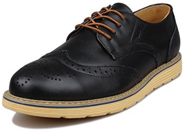Kunsto Men's Leather Brogue Oxford Dress Shoes Lace Up US Size 9.5 Black