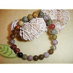 Ocean Jasper 8mm Natural Beads Yoga Prayer Bracelet Chakra Balance Meditation