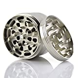 Premium Herb Spice Tobacco or Weed Grinder - Large 2.5 Inch 4 Piece with Pollen Catcher - Razor Sharp Teeth - 100% Guarantee