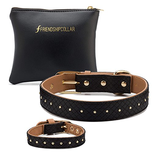 FriendshipCollar Boutique Rock Star Puppy Botique Dog Collar & Matching Friendship Bracelet Set - Vegan Leather, Available In 8 Different Sizes.