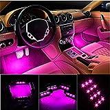言の葉 カー内部LED装飾ライト シングルカラーモード 36ランプビーズ 高輝度 車内フロア ライト イルミネーション 車内 ネオンシガーソケット(パープル)