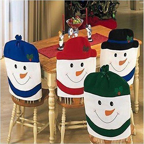 4 coprisedie con cappello da Pupazzo di neve, ottime per decorazioni natalizie in casa