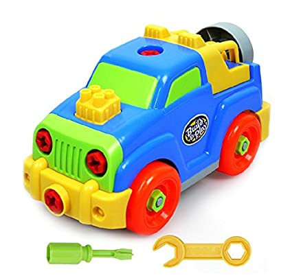 YIXIN Colorful Build-n-Play Assemble Disassemble Jeep Pull Along Vehicle Car Screw Building Toy for Boys Early Education for 3-Year-Old