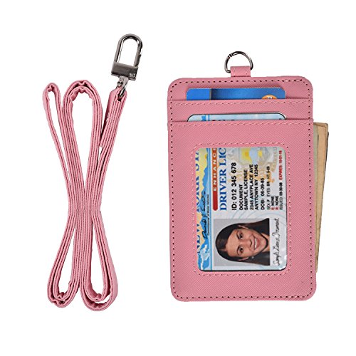 slim credit card holder wallet mens women leather id card case neck wallet pouch,video review,pink,(VIDEO Review) Slim Credit Card Holder Wallet Mens Women Leather Id Card Case Neck Wallet Pouch (Pink),