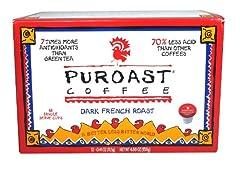 Puroast Low Acid Coffee French Roast Single Serve Coffee, Keurig Compatible, 12 - .41 oz, Net Wt. 4.88 Ounce