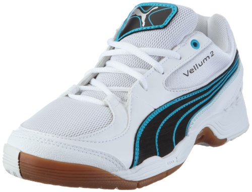 Puma Vellum II Wn's 102065, Damen, Sportschuhe - Indoor, Weiss (white-black-fluo blue 03), EU 39 (UK 6) (US 8.5)