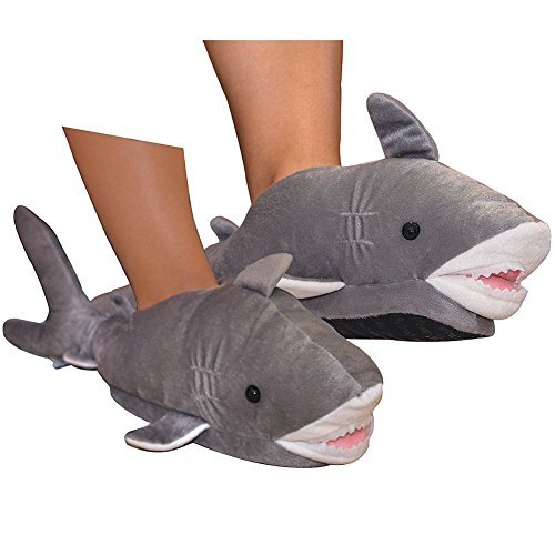 Super-Plush Shark Shaped Adult Mens Slippers With Textured Soles