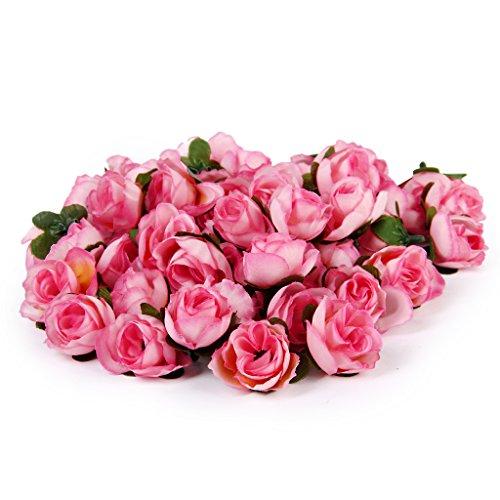 【ノーブランド品】ローズ バラ 造花 花部分のみ 花びら 花ヘッド 結婚式 3cm 約50個 全6色(ピンク)