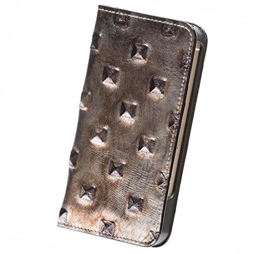 modaMania 【 iPhone SE / 5s / 5 】 本革 イタリア産 レザー スタッズ 型押し 手帳型 スマホ ケース 【33SP】 ブロンズ