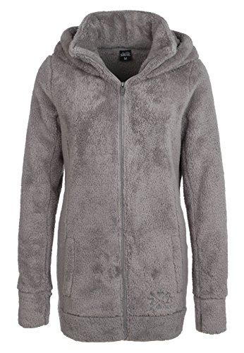 Sublevel Damen Teddy Fleece Mantel | Kuscheliger Fleecemantel mit hohem Kragen erhältlich in grau & schwarz