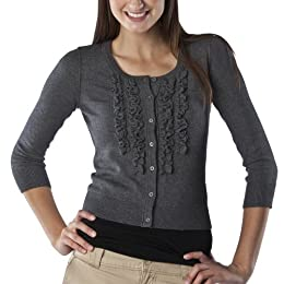 Product Image Mossimo Supply Co. Juniors Cardigan Sweater w/ Ruffle - Dark Heather Grey