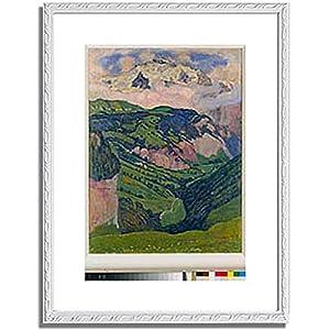 フェルディナント・ホドラー「The Jungfrau, view from the Isenfluh. 1902 」 インテリア アート 絵画 プリント 額装作品 フレーム:装飾額(白) サイズ:S (221mm X 272mm)