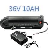 36V 10AH Black Bottle Lithium Li-ion E-Bike Battery for Bicycles+42V2A Charger