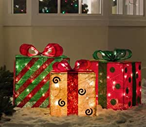 Amazon.com : Set of 3 Gold, Green and Red Sisal Gift Boxes ... on Backyard Decorations Amazon id=41391