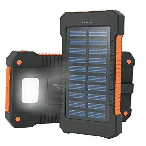 Iyowin 15000mAh 超大容量 モバイルバッテリー ソーラーチャージャー 2USB出力ポート ソーラーパネル 二つの充電方法 LEDライト付き 防水 防水 防塵 耐衝撃 旅行 ハイキングや地震 災害時が必要なもの