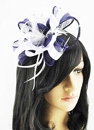 navy blue and white fascinator on b for races ascot la s hair piece clothing