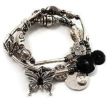 Antique Silver 3-Strand Charm Flex Bracelet (Vintage)